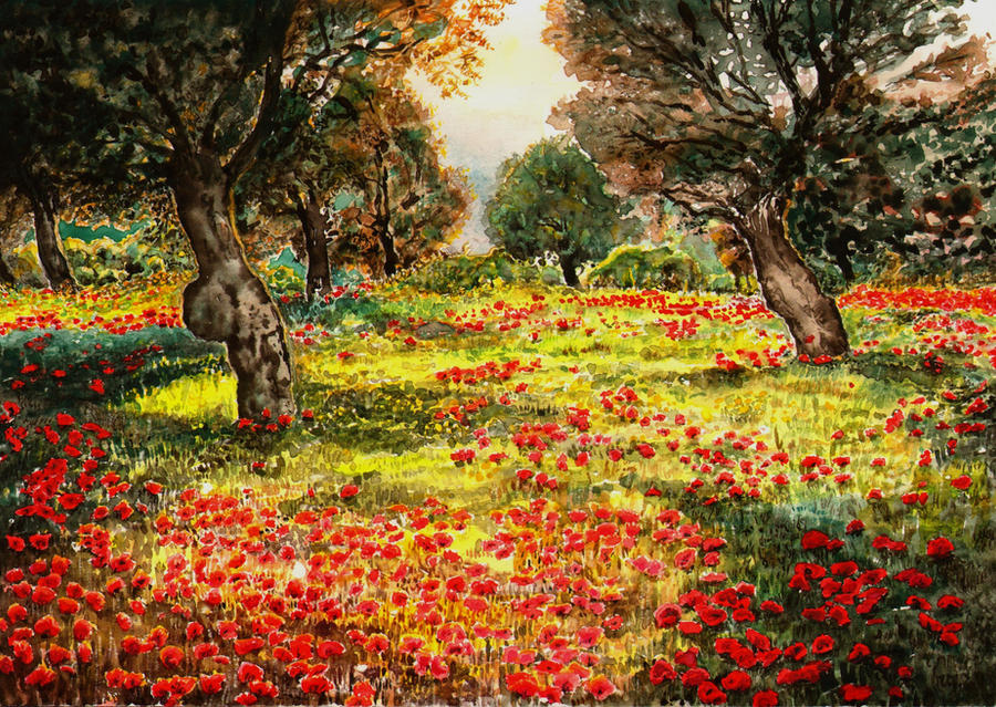 Apple Tree Orchard with poppies by aqualumen