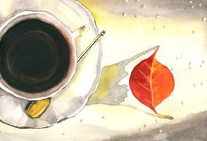 Autumn  Coffee and Leaf by aqualumen