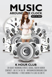 Music Around The Clock Party In Club Flyer by n2n44