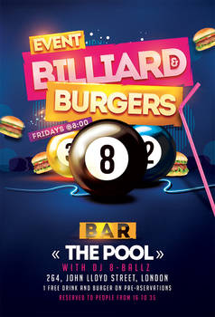 Billiard Burgers Pool Flyer