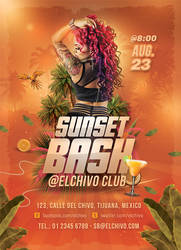 Sunset Bash Nightclub Flyer by n2n44