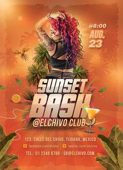 Sunset Bash Nightclub Flyer