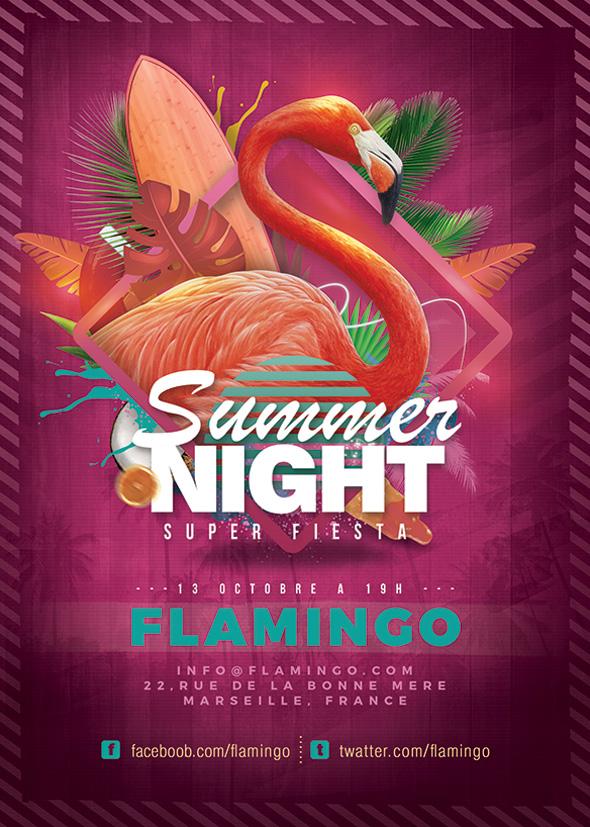 Flamingo Summer Party Flyer by n2n44