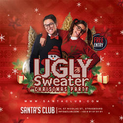 Ugly Sweater Christmas Party Flyer by n2n44