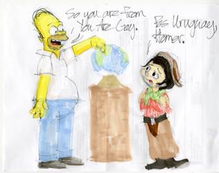 Homer Simpson And Gauchito Uruguay Joke by MrBig2