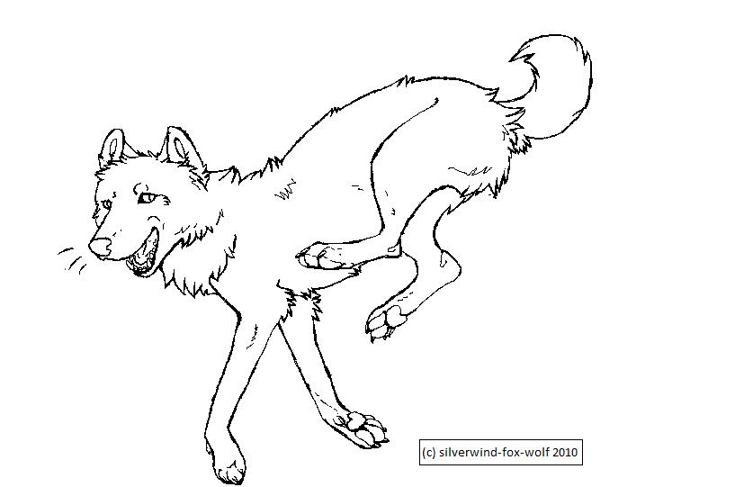 Jumping Wolf Lineart b...