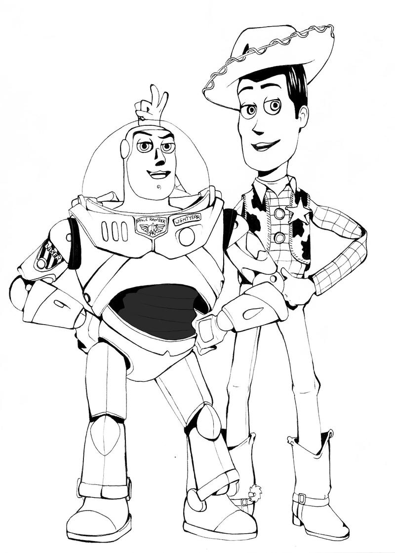 Woody and buzz by luciaraio on deviantart for Buzz and woody coloring pages