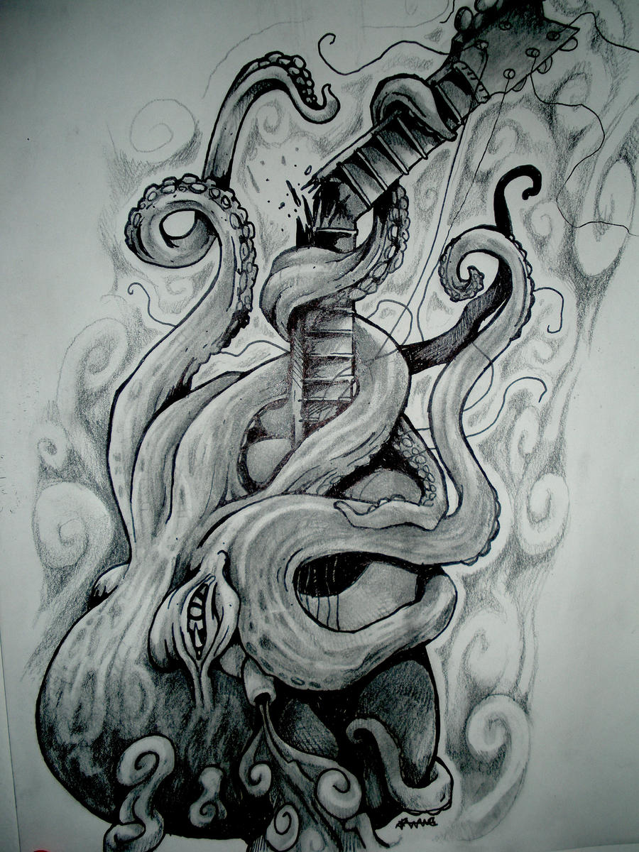 Octopus Shipwreck Drawing octopus breaking a guitar by