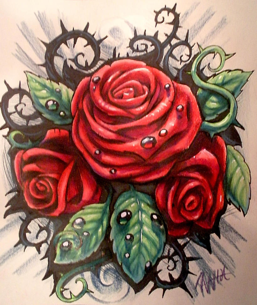 Red Rose With Thorns Tattoo 14514 Loadtve