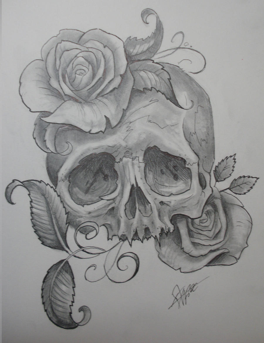 Girl Skull with Roses Drawings