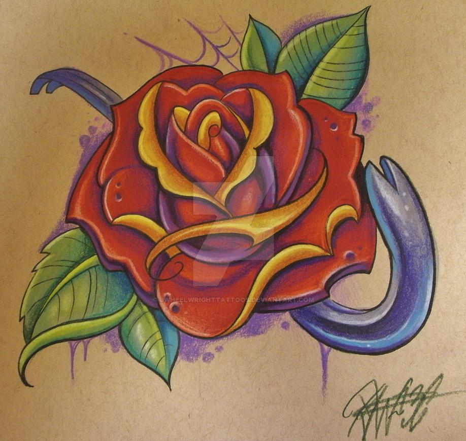 Traditional Rose By Jwheelwrighttattoos On Deviantart