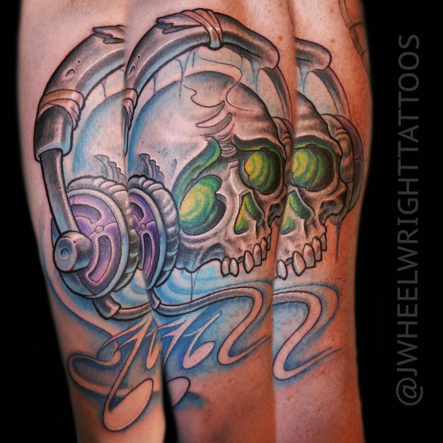 Skull With Headphones by JWheelwrighttattoos