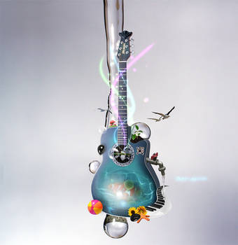 aqua guitar by onestepfromheaven