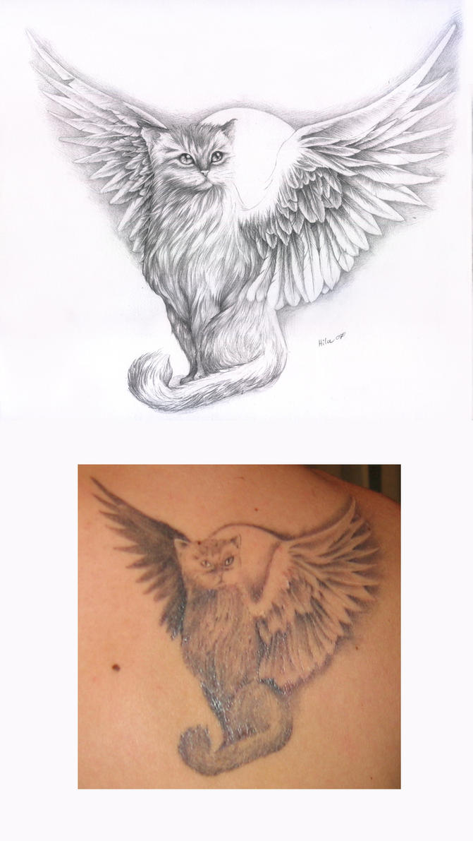 Winged Cat Tattoo Design by HilaMonster on DeviantArt