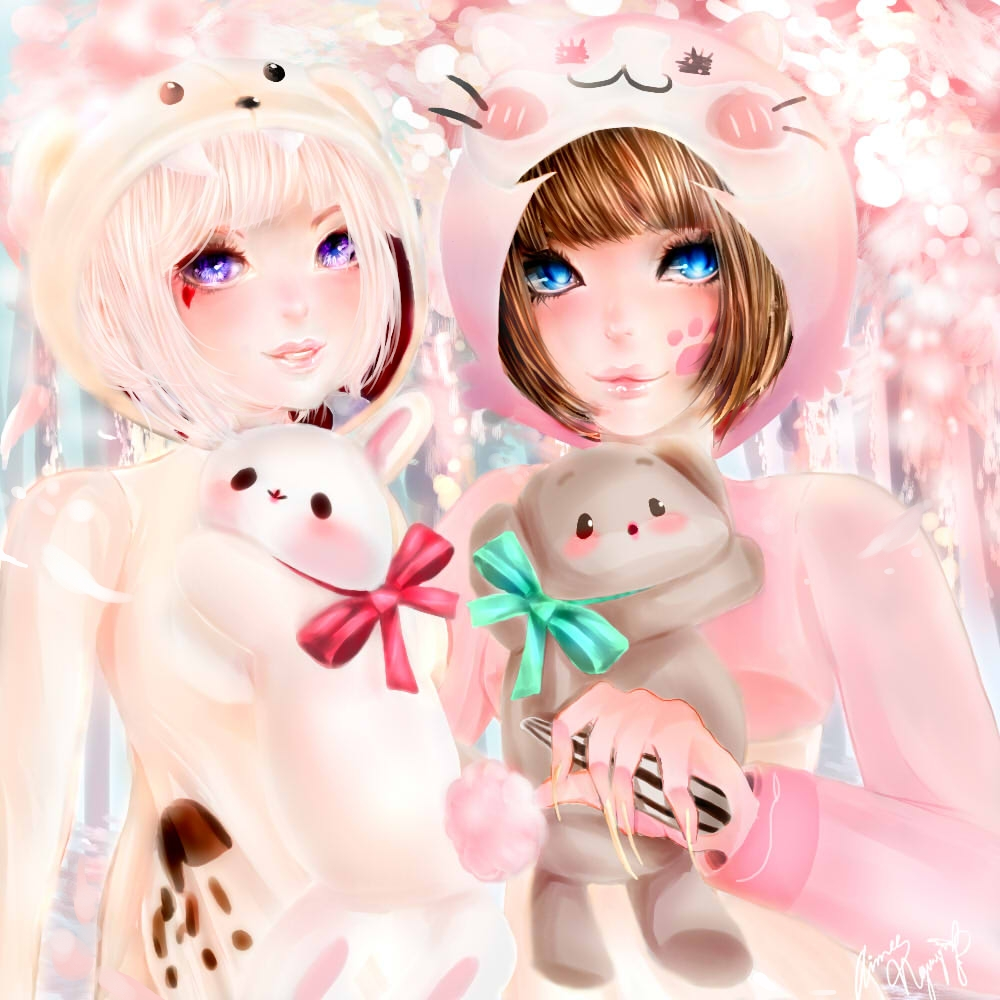 Evadelle and xxelisa by HeartTeddies