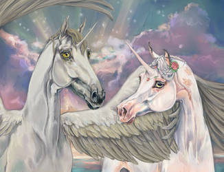 Comission unicorns by Crockori