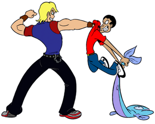 Fist v Fish #1 (flat_colors) by TheUnisonReturns