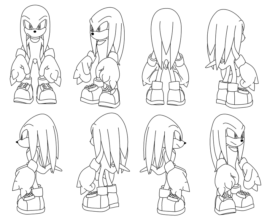 Knuckles the Echidna Turning pose by DarkHedgehog23