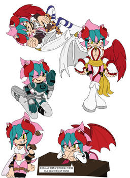 Ame Demon hedgehog in her old outfits colored