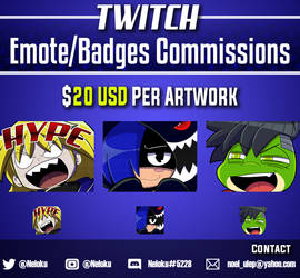 Twitch Emote/Badge Commission: Open by Neloku