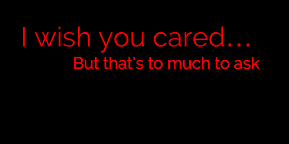 I Wish You Cared... But That's to Much to Ask by WhiteBleedingFox