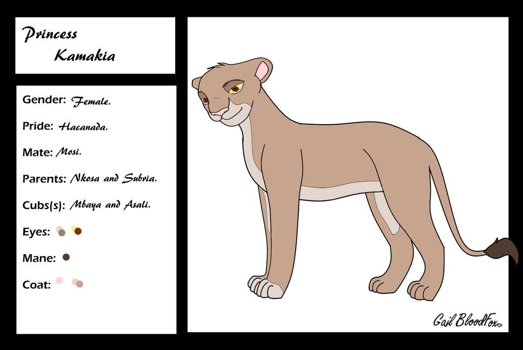 Princess Kamakia Character Card by WhiteBleedingFox