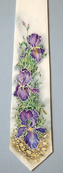 tie with irises by ireneya