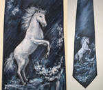 Tie with a horse and sea foam