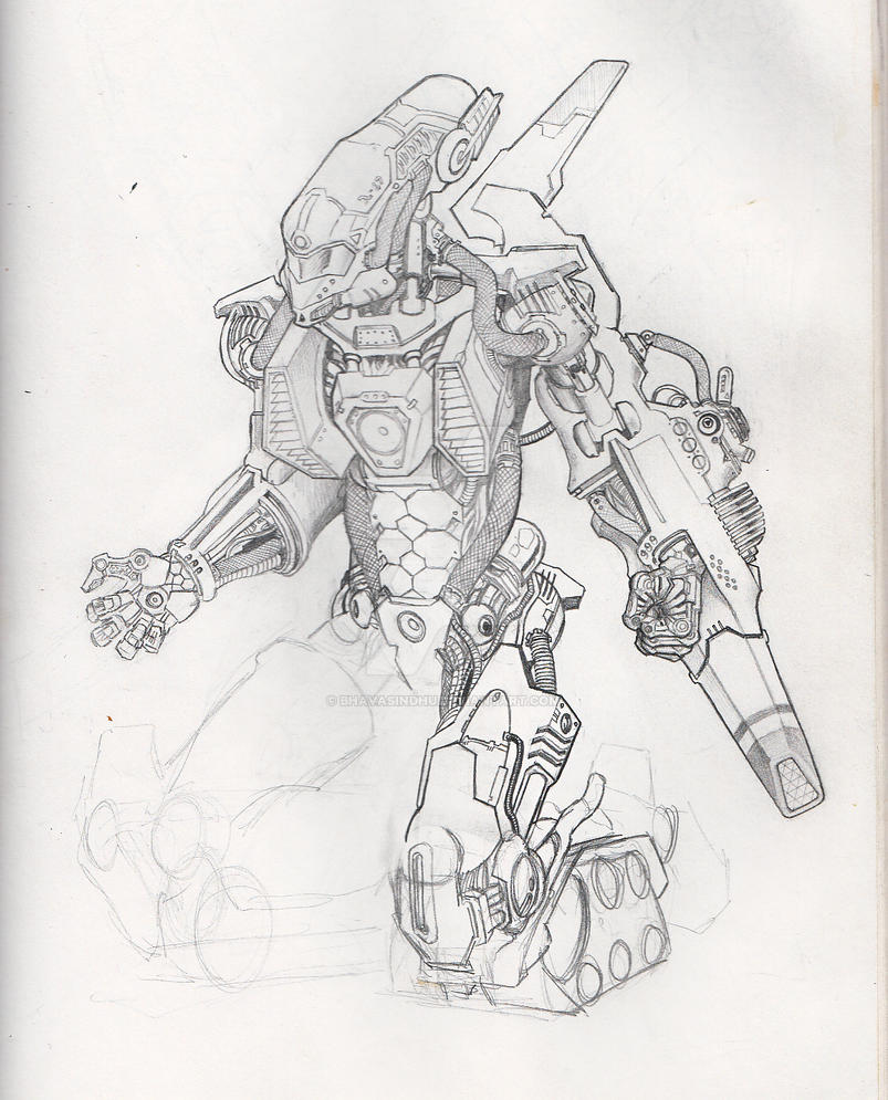 Mech-Tank sketch (incomplete) by Bhavasindhu