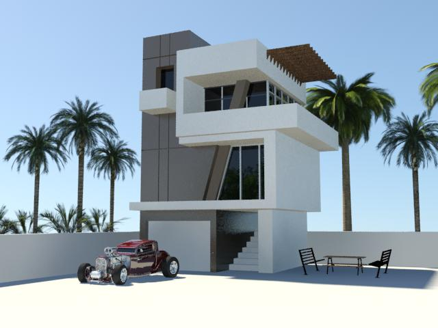 Modern house exterior by jessebryan on deviantart for Modern vintage house exterior