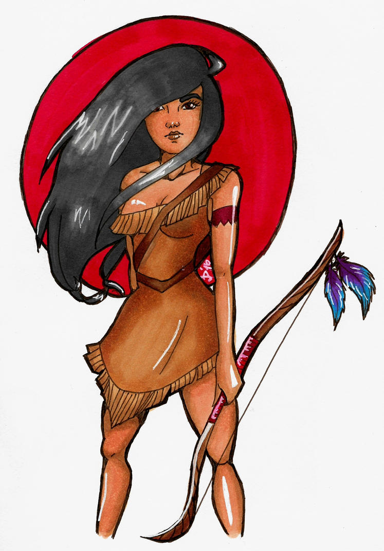 Pocahontas : Copic Marker illustration by ImALoneRedRover