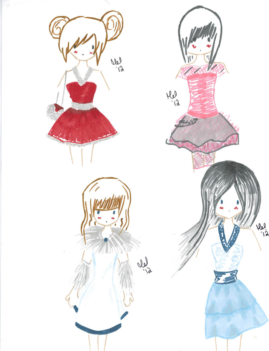 Freehands with cute dresses by Pun-kye on DeviantArt