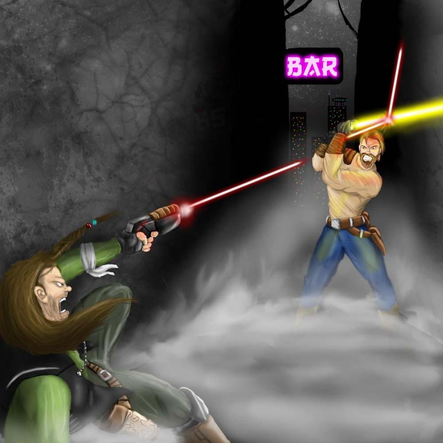 Smuggler vs Jedi by Bomberman65