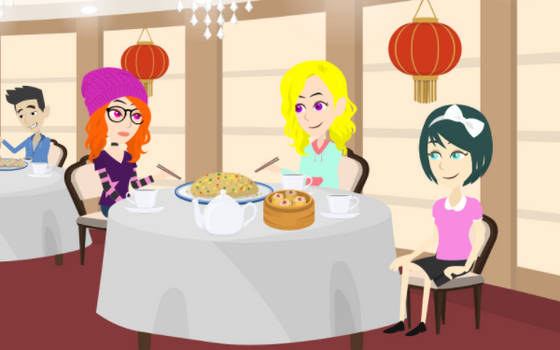 Brooke And Her Friends At A Chinese Restaurant