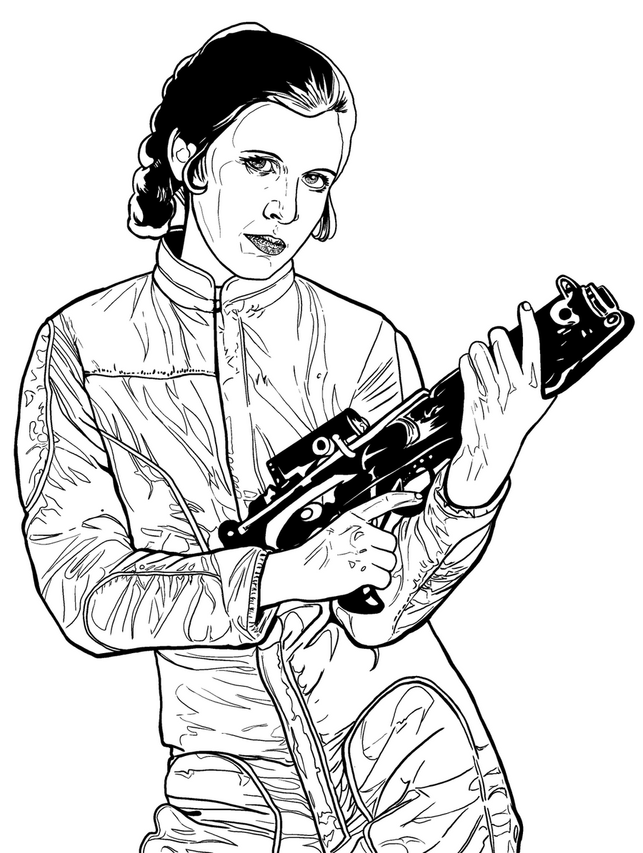 Princess leia slave star wars coloring pages sketch for Princess leia coloring page