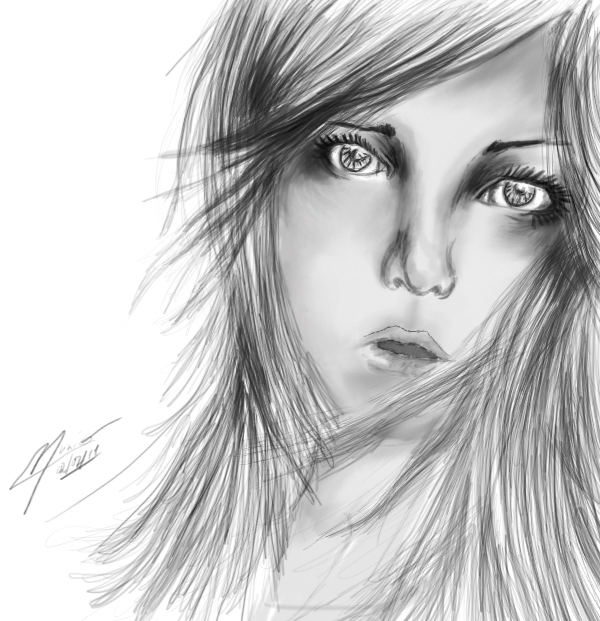 drawing of a scared girl