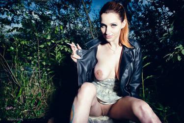 Smoking girl by Aloisov