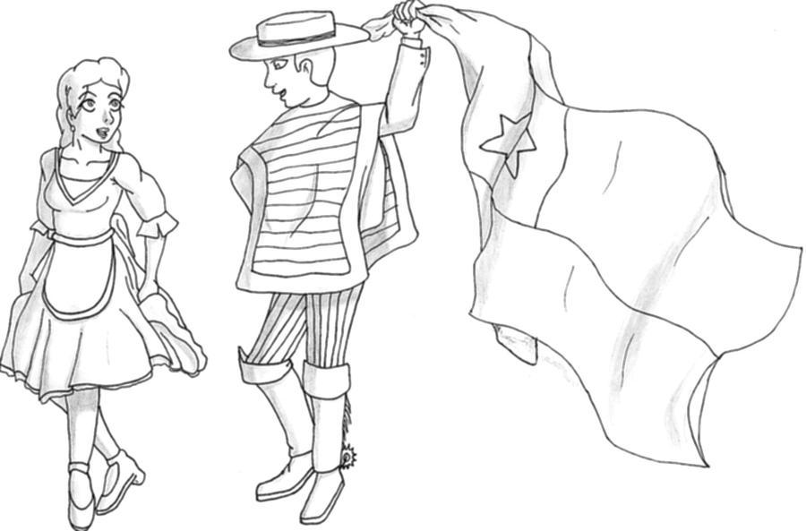 Dibujo De Chilena Para Colorear: Dibujo De Huasos Bailandos