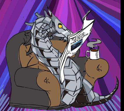 CyberDragonReadingLocalNews by tekkenrocker