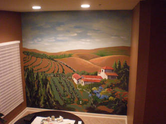 tuscan landscape kitchen mural by JohnnyStafford