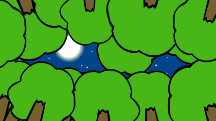 Background: Moon Through Trees by LostRey