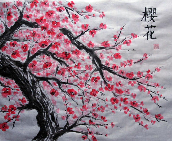 Traditional Japanese Cherry Blossom Art Wallpaper Images
