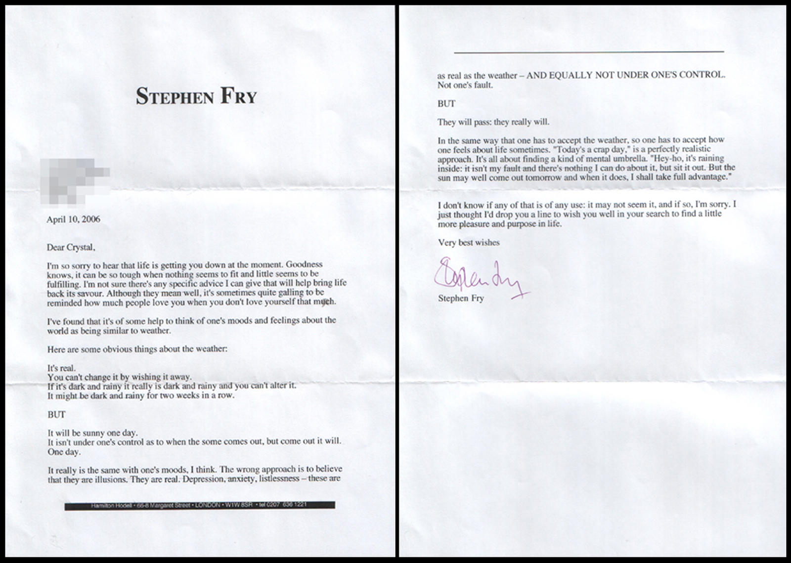 My letter from Stephen Fry