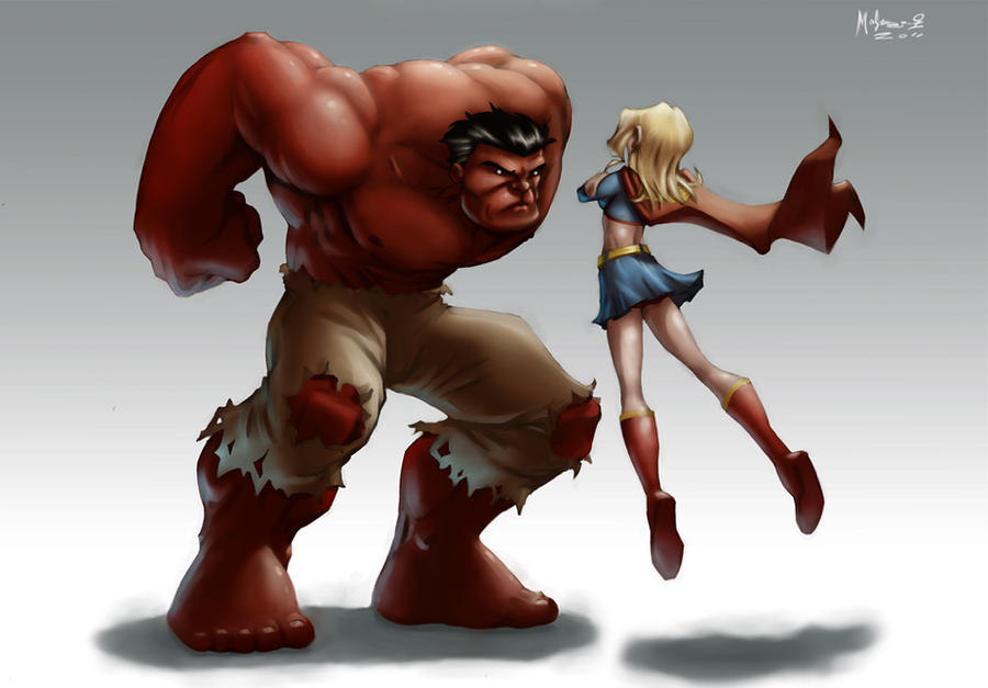 Red Hulk and Supergirl by AdamMasterman