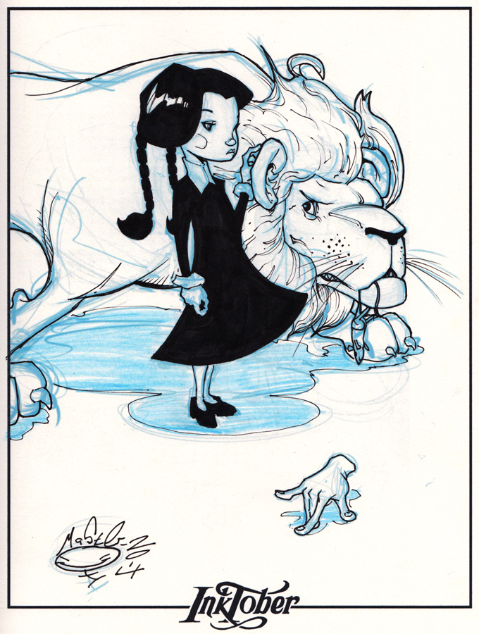 Ink-tober Day 10- Wednesday Addams by AdamMasterman