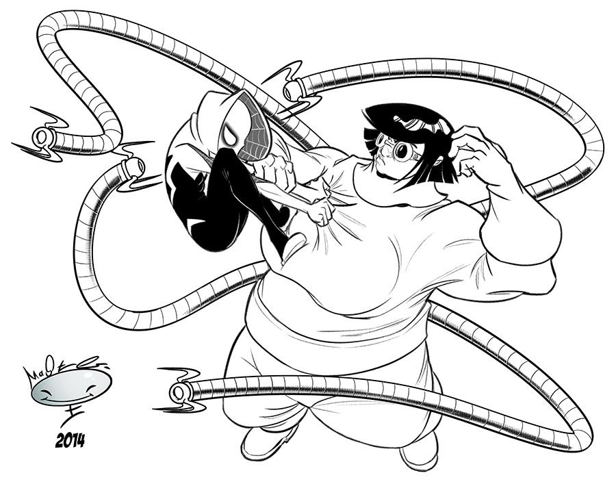 Spider-Gwen and Doc Oc- Lines by AdamMasterman