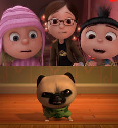 Margo, Edith and Agnes sees Bug the Pug