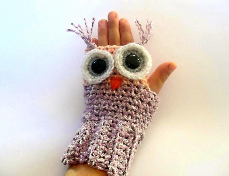 Owl Fingerless Gloves Crochet Pattern by PatternStudio on ...