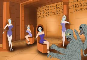 Elsa, Anna, Wendy, Snow White and mummies by SerisaBibi