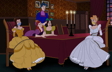 Bound at the Ball (Belle and Cinderella) by SerisaBibi